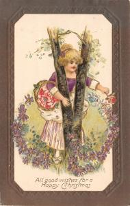 Christmas~Victorian Girl Sticks Blonde Head Tween Birch Trees~Violet Garland~Emb