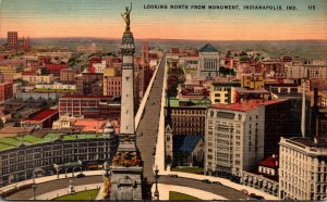 Indiana Indianapolis Birds Eye View Looking North From Soldiers and Sailors M...
