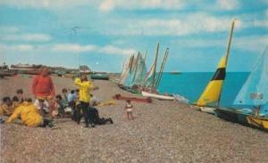 Yachts Boats On Walmer Sailing 1970s Kent Man Looks Distraught Postcard