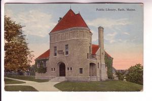 Public Library, Bath, Maine, Flag Cancel