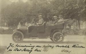 germany, BAD SALZIG, Three Men in Old Car (1911) RPPC Postcard