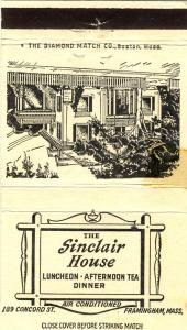 Framingham, Mass/MA Matchcover, Sinclair House Restaurant