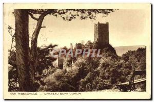 Old Postcard Ribeauville Chateau Saint Ulrich