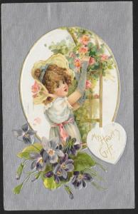 My Hearts Gift Pretty Girl Roses & Violets Used c1908