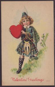 Valentine Greeting,Girl Holding Heart Postcard
