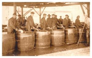 Men Cleaning Fish into Wooden Barrels RPC