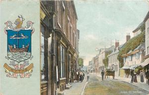 Hythe Kent UK~High Street Shops~Ladies~Horse Wagon~Coat of Arms~1908 Postcard