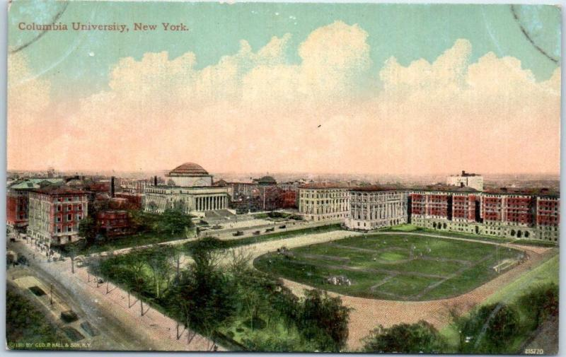 1910s COLUMBIA UNIVERSITY Postcard Bird's-Eye Campus View New York City UNUSED