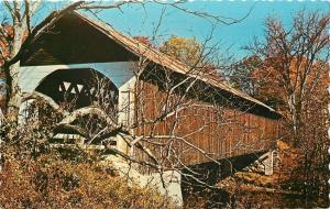 Lyme New Hampshire~Wooden covered Bridge~Wooded~Fall Weather~1960s Postcard