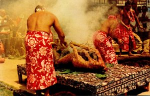 Hawaii Preparing The Luau Pig