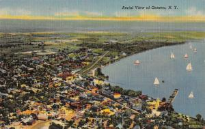 Geneva New York Aerial View Of City Linen Antique Postcard K20451