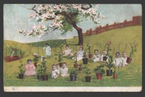 112098 MULTIPLE BABIES as Flowers in Garden COLLAGE old