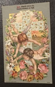 Vintage gilded Easter greeting Postcard, postmarked 1909