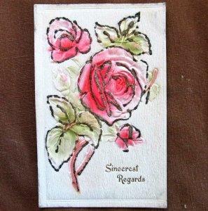 SINCEREST REGARDS ~ Embossed Greeting Glitter Roses 1910 Vintage Postcard