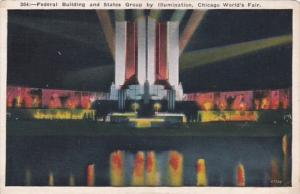 Chicago World's Fair 1933 Federal Building and States Group By Illumination