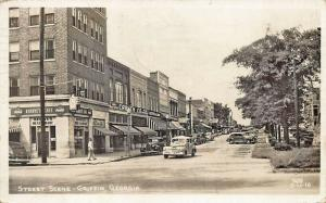 Griffin GA Main Street Storefronts Kirbye's Restaurant Cars Real Photo Postcard