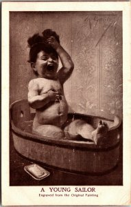 YOUNG SAILOR - ART - VINTAGE - BOY - POSTED -  Postcard