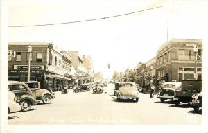Port Angeles Washington~Main Street~Fry Drug~Radio Shop~Vintage Cars~1940s RPPC