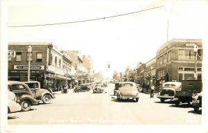 Port Angeles Washington~Main Street~Fry Drug~Radio Shop~Vintage Cars~1940s RPPC