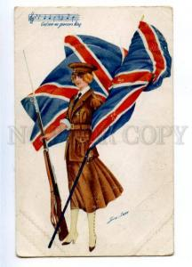 161078 BRITISH Flag HYMN Woman Soldier by SAGER Vintage AN PC