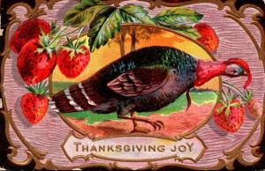 Thanksgiving With Turkey and Strawberries 1910
