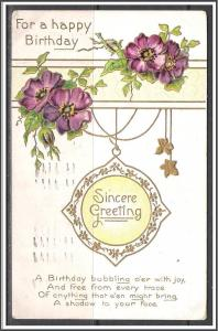 For A Happy Birthday - Sincere Greeting - Pansies - Embossed - [MX-177]