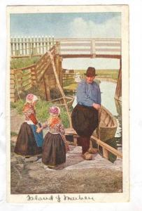 Two girls with older man riverside next to row boat, PU-1925