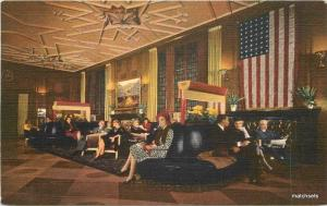 1940s Lobby Bismarck Hotel  Interior Chicago Illinois Teich postcard 7663