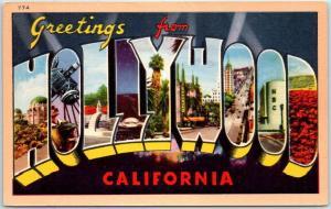 1940s HOLLYWOOD California Large Letter Postcard Longshaw Linen UNUSED