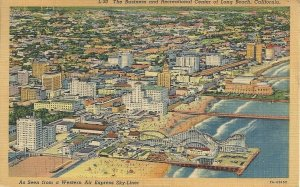 The Business and Recreational Center of Long Beach, California Vintage Postcard