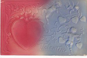 Valentine's Day Cupid Wih Hearts Embossed 1908