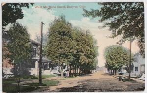 1909 BUCYRUS Ohio Postcard WEST MANSFIELD St HOMES Crawford County