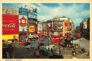 London Piccadilly Circus Coca Cola, Skol Express Billboards Cars Postcard