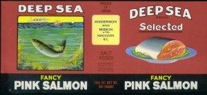 DEEP SEA brand / PINK SALMON CAN LABEL - California 1930s