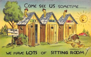 Outhouses Postcard Out House Post Card Outhouse Comic Unused