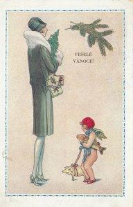 Art Deco ; Tall Woman Portrait , Cherub VESELE VANOCE! , 1910-20s
