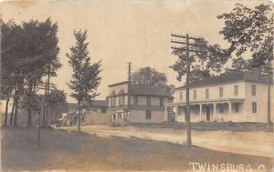 E62/ Twinsburg Ohio RPPC Postcard 1912 Ice Cream Shop Homes Hotel?