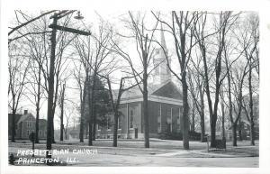 Princeton IL~Presbyterian Church & Homes~Barren Trees~Real Photo Postcard c1950