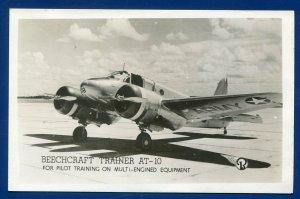 Beechcraft Trainer AT-10 for Pilot Raining Mlti-Engined Equipment photo postcard