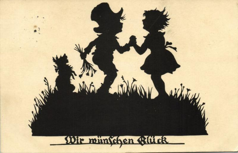 Artists Silhouettes Card Artist H. Kocher We wish Happiness (1929)