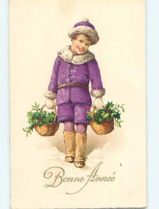 Pre-Linen foreign BOY IN PURPLE COAT CARRIES BASKETS OF CHRISTMAS HOLLY HL7861
