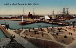 Peru Malecon y Muelle Darsena del Callao Vintage Postcard