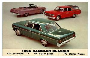 1966 AMC Rambler Classic 770 Convertible 4-Door Sedan Station Wagon Postcard *5C