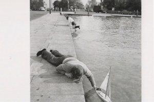1960s Hampstead Pond Child Launching Model Boat Photo Postcard
