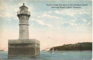 Pacific Coast Entrance to the Panama Canal Range Lights Panama Antique Postcard