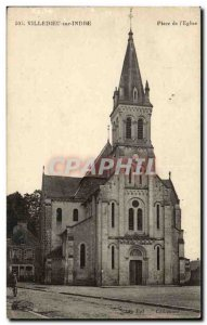 Villedieu on Indre Old Postcard Place of & # 39eglise