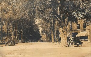 Sharon MA Old Cars Post Office Storefront Trolley Track RPPC