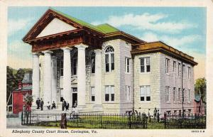 Covington Virginia Alleghant Court House Exterior Linen Antique Postcard K20521