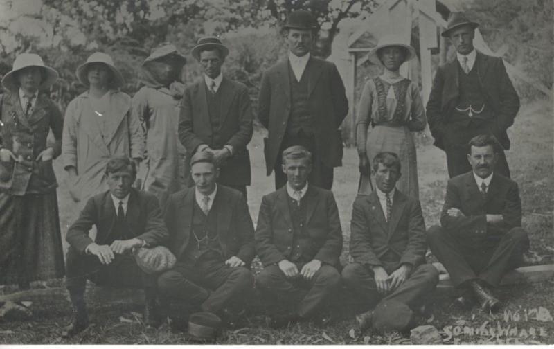 Portrait Of 12 People Australia Group Photo Unknown? RPPC Real Photo Postcard E4