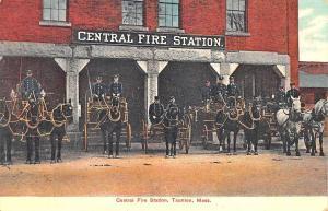 Taunton MA Central Fire Station 5 Horse & Wagon Postcard
